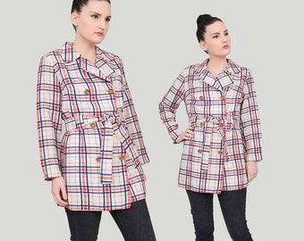 70s Woven Plaid Jacket | size S M | Double Breasted Belted Jacket | Nautical Preppy Mod Peacoat White Red Navy | Small Medium