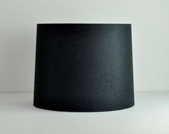 Black linen tapered drum hardback lamp shade