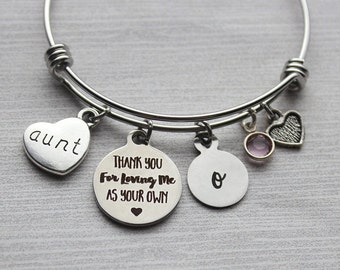 Aunt - Thank-You For Loving Me As Your Own Bracelet, Adoption Gifts, Aunt Adoption Gifts, Aunt Bracelet, Adoption Jewelry, Adoption Bracelet