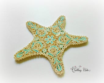 Quilled paper starfish – paper art  - home decor – summer decor- wall hanging