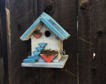 Birdhouse, Country Style Shabby Chic Farmhouse Inspired Bird House Functional For Birds, Unique Rustic Wood Birdhouses, Item #494893602