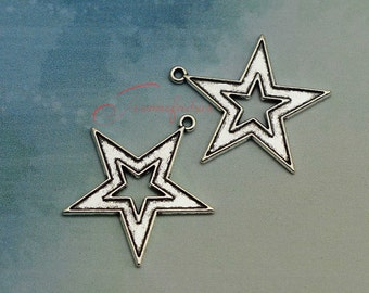 10PCS--34x33mm ,Star Charms, Antique Silver star Charm pendant, DIY supplies,Jewelry Making