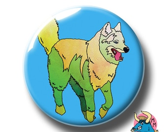Huksy Dog Badge, Husky Pin, Dog Pin, Dog Badge, Yellow Green Dog, Blue Badge, Dog Lover, Animal Lover, Button Badge, Badge Pack, Dog, Badges