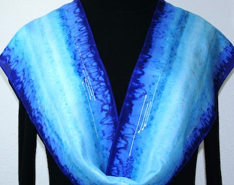 Blue Silk Scarf Hand Painted Handmade Silk Shawl LAKE VIEW, by Silk Scarves Colorado. Select Your SIZE! Birthday Gift, Bridesmaid Gift