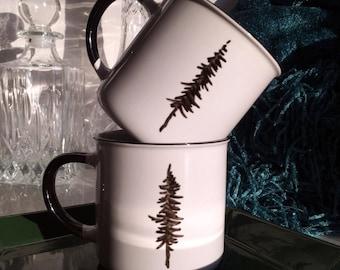 2 Cottage Mugs - Hand Drawn Pine Tree - Ceramic - Pair