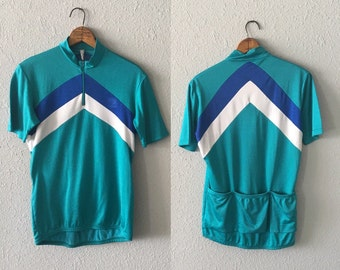 1970's/80's Chevron Print Teal Blue and White Vintage Cycling Jersey