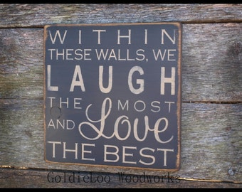 Within These Walls Wood Sign, Primitive, Word Art, Typography, Handmade