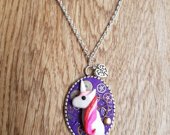 Clockwork Unicorn Cameo Necklace