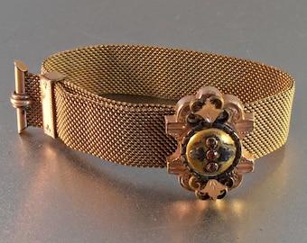 Victorian Mesh Garnet Wedding Bracelet, Etruscan Rose Gold Slide Station