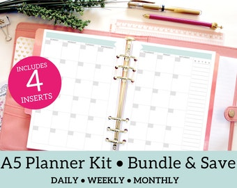 A5 Planner Starter Kit Bundle Pack with daily, weekly and monthly, Bluebird Theme, Personal Planner Insert, Instant Download, Printable