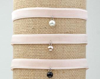 Blush Velvet Choker . Pink Velvet Choker . Pearl Choker . Gift for Her . Bridesmaid Gift . Preloved . Adjustable Choker . Handmade