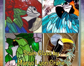 Stained Glass Parrots