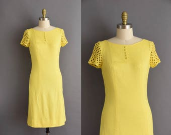60s vintage canary yellow caged sleeve vintage shift dress 1960s vintage cotton Medium dress