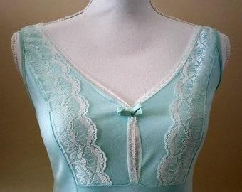 Vintage lingerie dress /blue lace slip dress/ready to ship