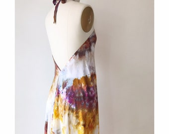 NEW Hand Dyed Halter Dress in Super Nova, Rayon,  Anna Joyce, Portland, Or, IN STOCK