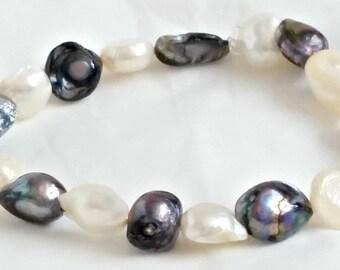 Womens Bracelet Freshwater Pearl Handmade Bracelet Elasticated Rainbow Pearl