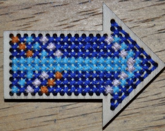 Cross Stitch, Arrow, Blues, Orange and Pink Colors, Gifts