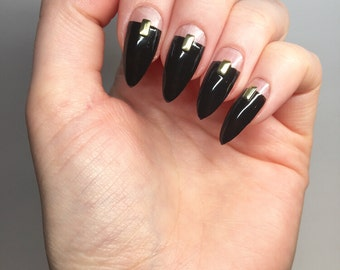 Black Cut Out Stiletto Nails Luxury Nail Sets Almond Acrylic Pointy
