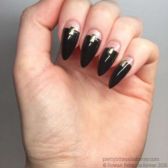 Black cut out stiletto nails Luxury nail sets Black stiletto