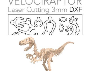 3D Puzzle 3mm - Velociraptor - Dino - DXF