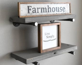 10 Deep Gray Farmhouse Floating Shelve Rustic Wood Wall Shelf With Special Caps Open Shelving Kitchen Storage Bathroom Shelves