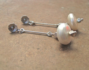Sterling Silver and Fresh Water Pearl Dangle Earrings
