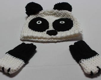 Cute Panda Hat and Baby Mitten set
