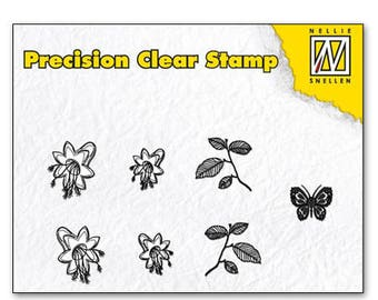 Stamp clear leaf/Flower/Butterfly 5, 5 x 3, 5 cm_APST024