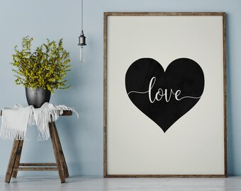 Love Heart Poster | Love Printable | Heart Decor | Nursery Wall Art | Home Decor
