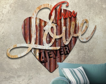 Metal Wall Art 3D True Love Metal Sculpture 34 Inches x 36 Inches