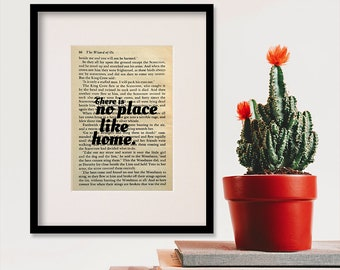 """Wizard Of Oz quote print - Housewarming gift - New home decor - Mothers Day gift - """"There is no place like home."""""""