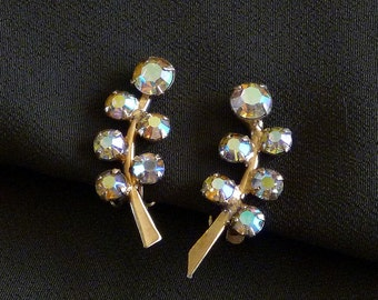 Aurora Borealis Leaf Earrings, Crystal Leaf Earrings, Vintage Crystal Jewelry