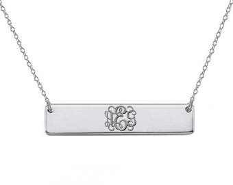 BRIDESMAID GIFT- Silver monogram bar necklace 1 inch pendant select any initial made with 925 Sterling silver