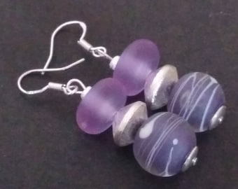 Earrings: Trio of purple and silver beads