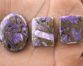 03 Pcs Charoite Cabochon 32x25x6 MM 72.7 CTS Copper Charoite, Charoite beads, Charoite Crystal,Natural Charoite Gemstone for Wirewrapping