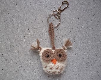 OWL crochet handmade, crochet OWL keychain.