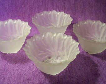 Frosted Dessert Dishes / Sherbert Dishes - Set Of 4