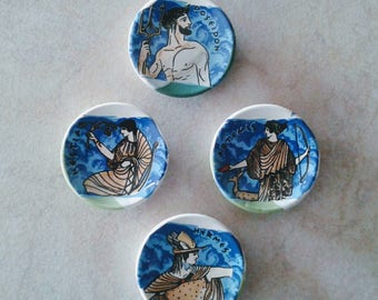 Ancient Greek Gods Ceramic Magnets (refrigerator magnets, kitchen magnets, fridge round magnets, magnets set, magnets for boards)