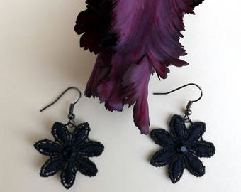 "Black chandelier lace Earrings ""Black Daisy"" - boho earrings - chandelier earrings - unique jewelry"
