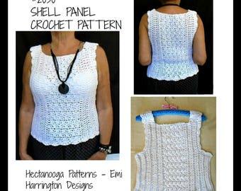 Women's Crochet Pattern - Pullover Sleeveless Sweater - Shell Top, PDF download, #2030, S, M. L