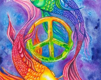 """Koi Peace -8""""x10"""" Watercolour Print"""