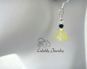 Flower Earrings, Petite Dangle Earrings, Yellow Earrings, Sterling SIlver Jewelry