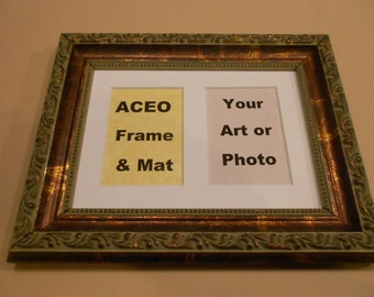 Photo Frame - 5 x 7 Wood Picture Frame with Double ACEO Mat