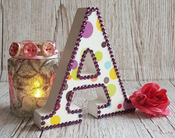 Letter A, Spots with deep maroon rhinestones, initial, decoupage, dots