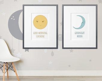 Good Morning Sunshine, Goodnight Moon, Printable Wall Art, Instant Download, Digital Download, Nursery Art, Digital Print, 8x10, 11x14, Baby
