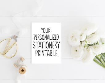 Printable Stationery, Printable Personalized Stationery, Printable Stationary, Digital Stationery, Printable Note card, Printable Notecard