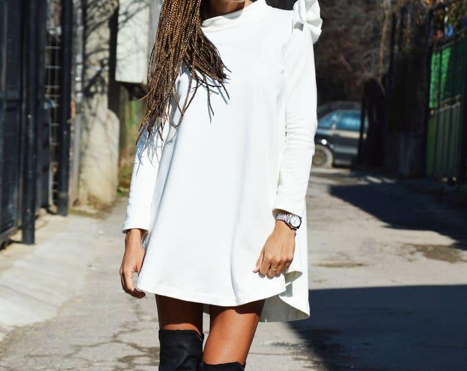 Asymmetric White Cotton Sweatshirt, Extravagant Casual Blouse, Long Sleeve Tunic Top, Women Design Dress by SSDfashion