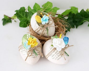 Decorated Floral Eggs, Aqua & Yellow Easter Decor, Cottage Home Decor