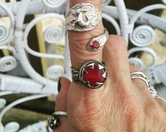 Vintage Carnelian Sterling Silver Statement Goth Ring