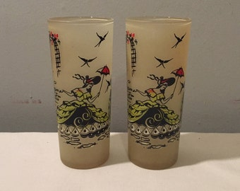 Pair of Frosted Glass Tumblers with Victorian Southern Belle in Garden